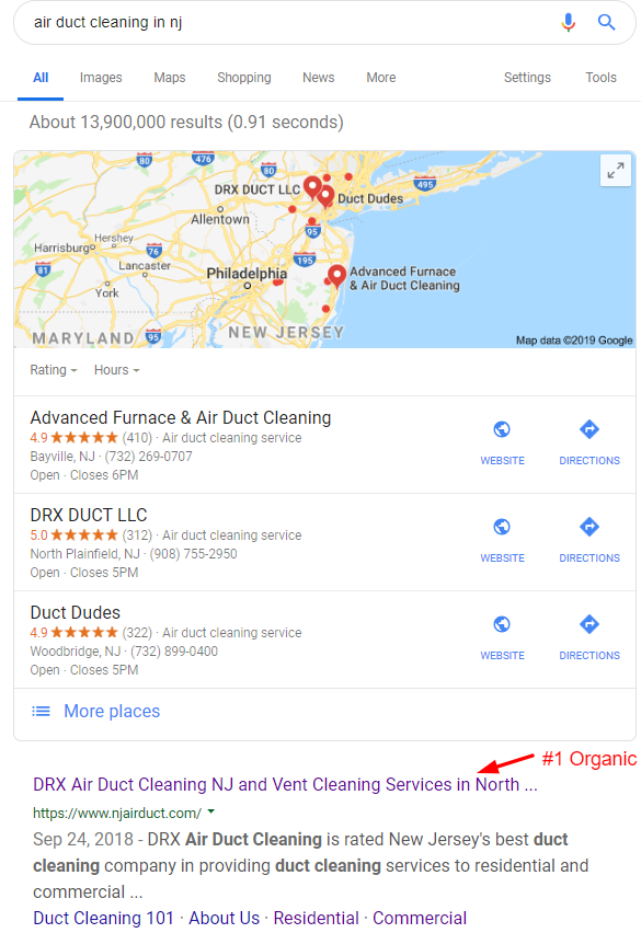 1 Google Ranking Screenshot