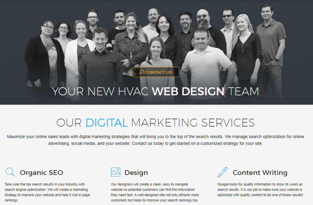 HVAC Advertising Company Homepage