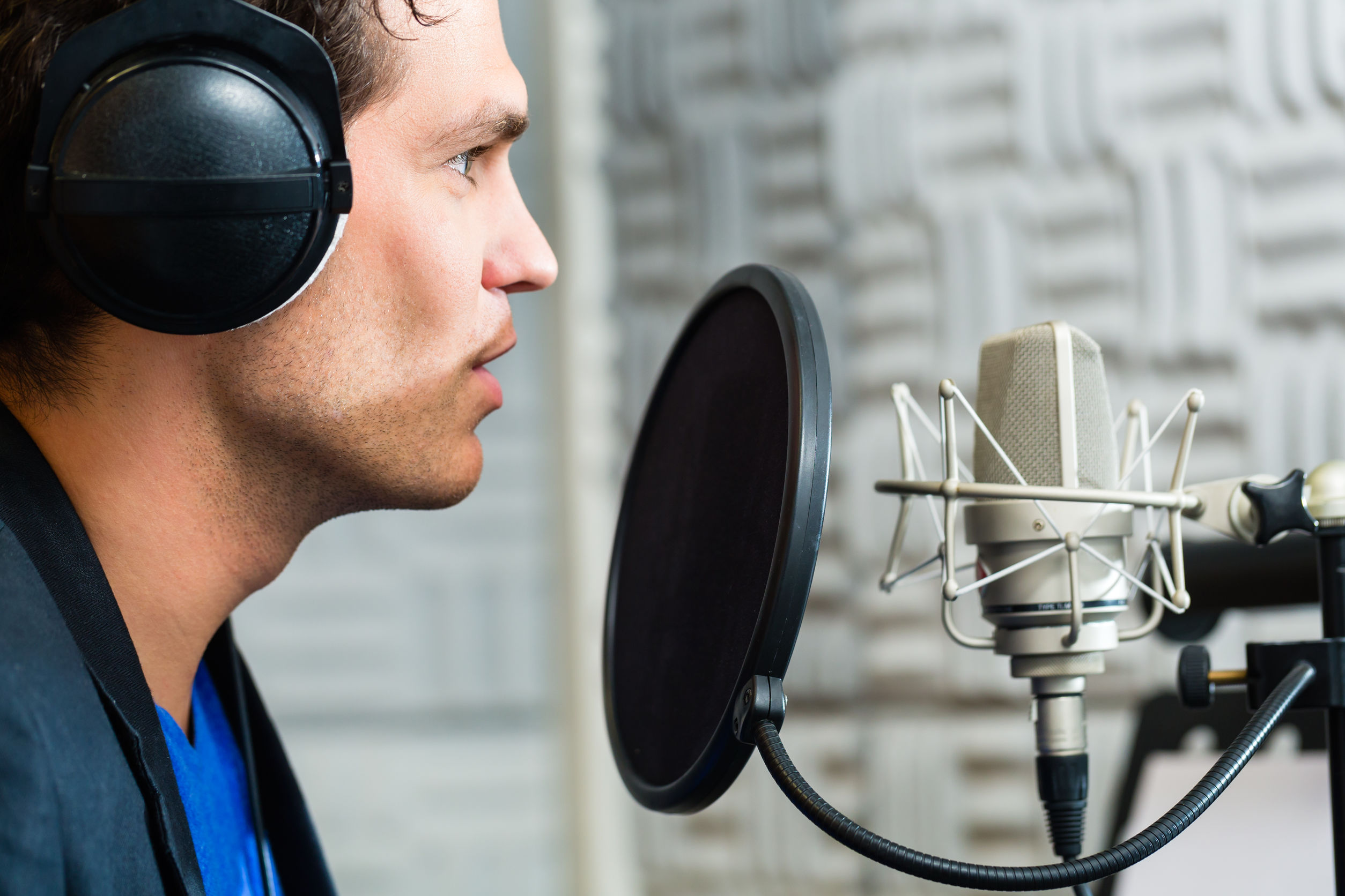 Man Recording Audio Track