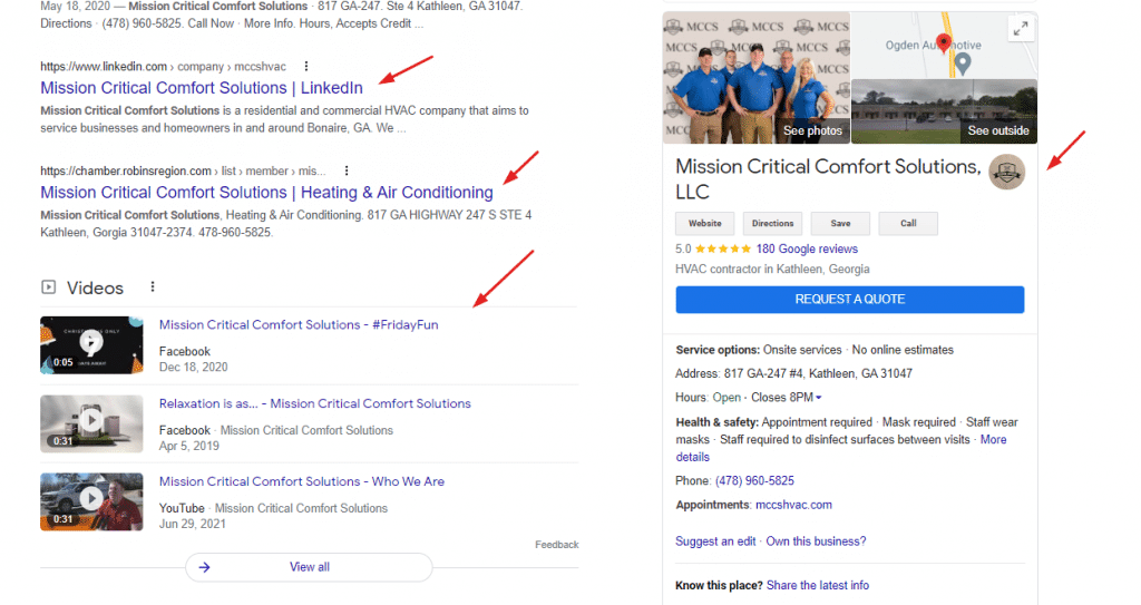 Branded SERP Example for HVAC Company