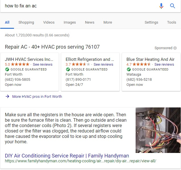 Google How To Fix An AC Featured Snippet