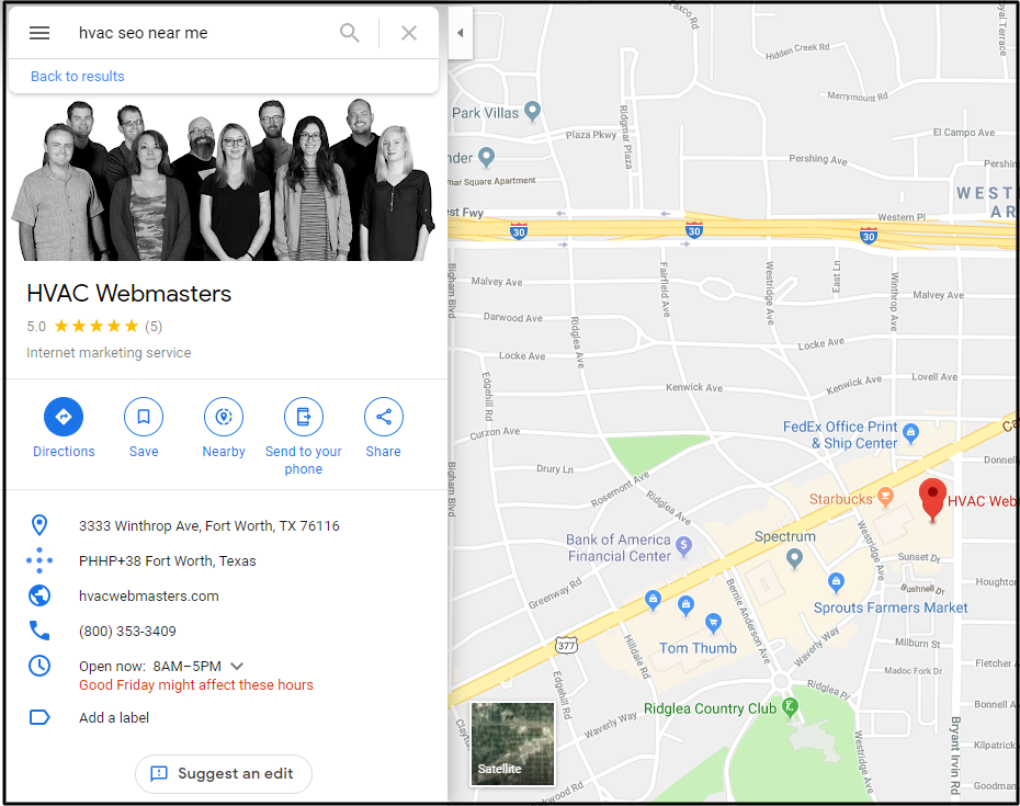 Google Maps Listing for HVAC Webmasters