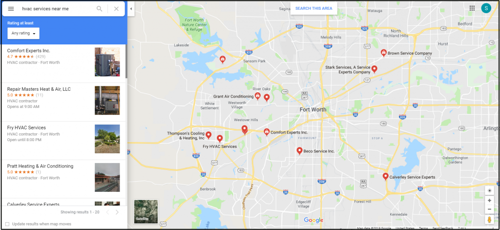 Local HVAC Listings on Google Maps