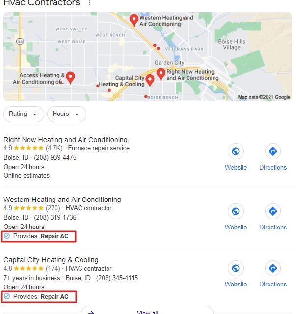 Example of Google Maps Ranking