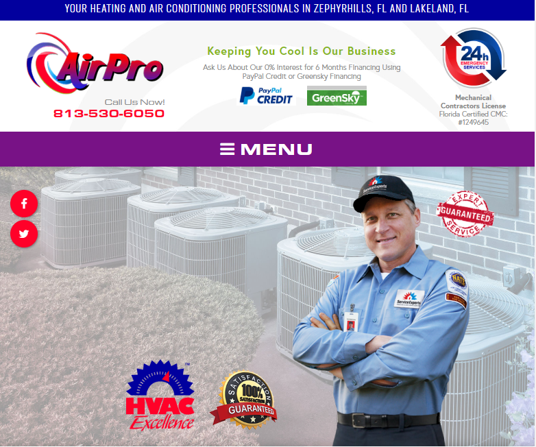 An HVAC Contractor's Paid Ads Lead to a Website