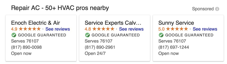 HVAC Google Guaranteed Results