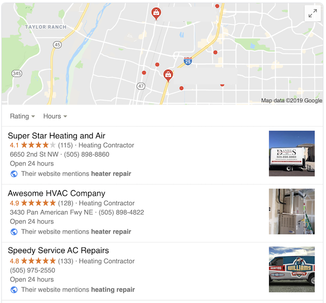 HVAC Google Maps Screenshot
