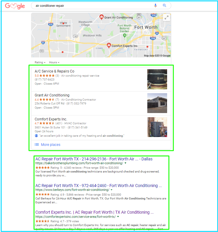 Google HVAC Search Results