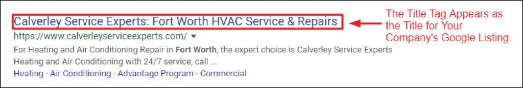 HVAC Title Tag Example