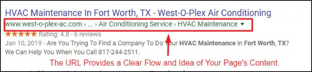 Screenshot of HVAC URL