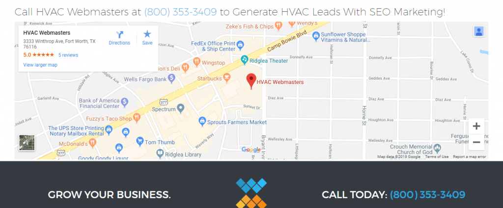 HVAC Webmasters Contact and Call to Action