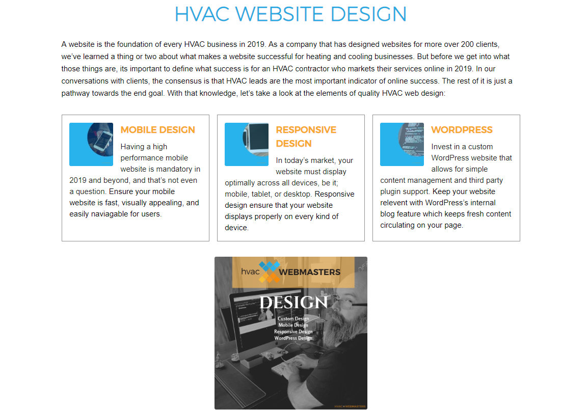 HVAC Webmasters Web Design Screenshot