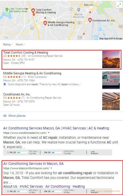 Local HVAC Client Google Search Result