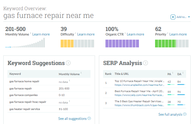 MOZ Keyword Explorer Screenshot