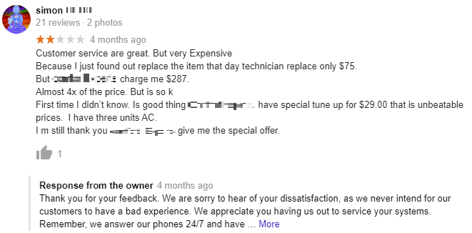 An HVAC Company Responds to a Customer Complaint.