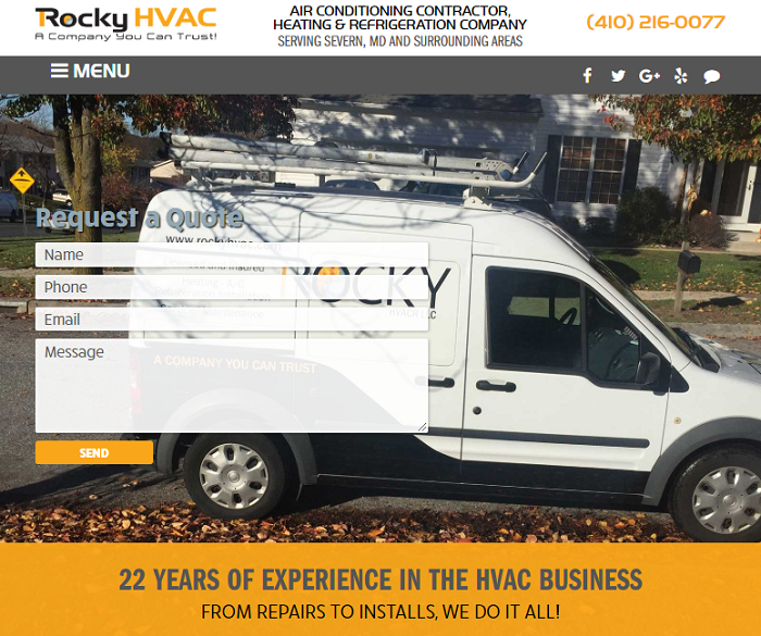 Rocky HVAC's New Site Design