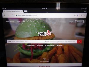 Yelp Online Reviews on Tablet