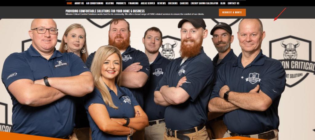 Personalized HVAC Company Website