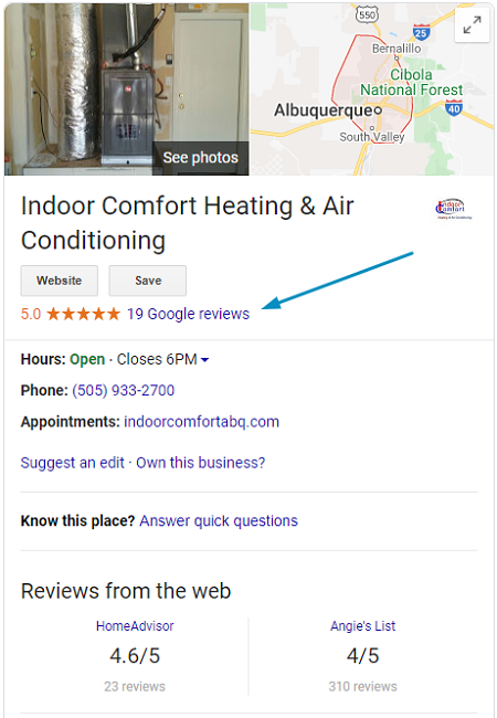 Example of Where Google Reviews are Located on GMB Listing