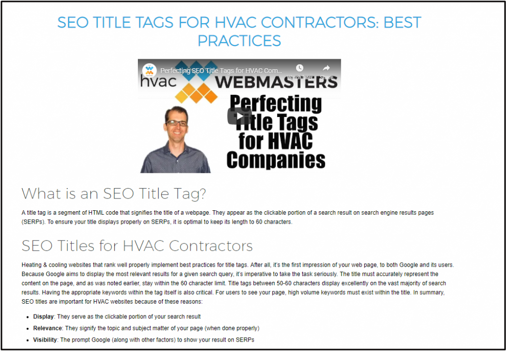 Page Optimization For HVAC Podcasts