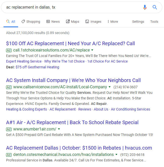 Google HVAC Advertising Examples