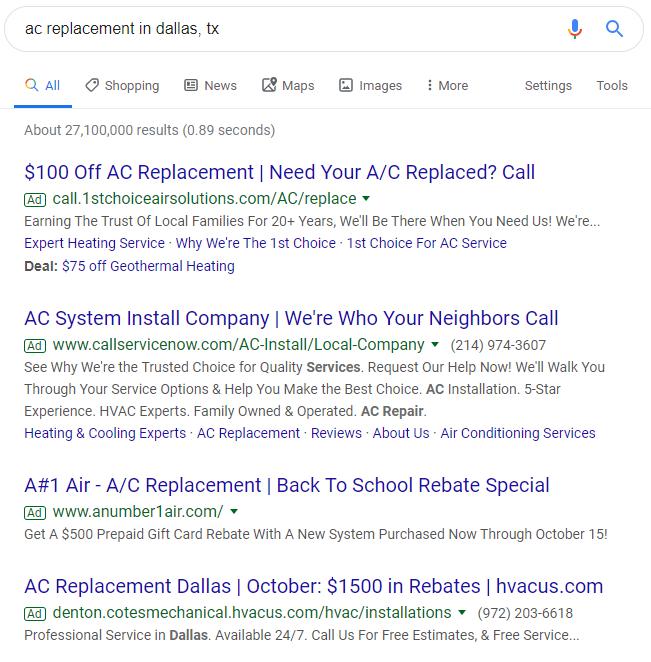 Google HVAC Advertising Examples
