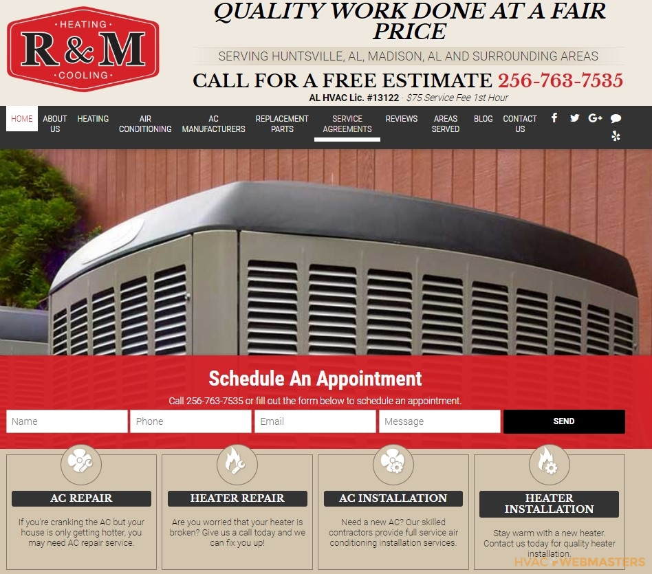 R and M Heating and Cooling Website