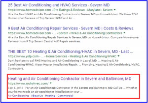 SERP Rankings for Rocky HVAC