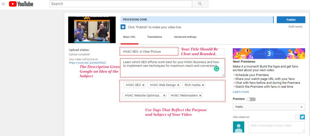YouTube Upload Screen Example